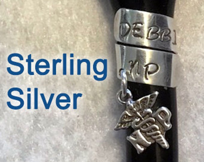 Stethoscope ID tag - sterling silver - fine silver - nurse gift - stethoscope name tag - custom made for nurse