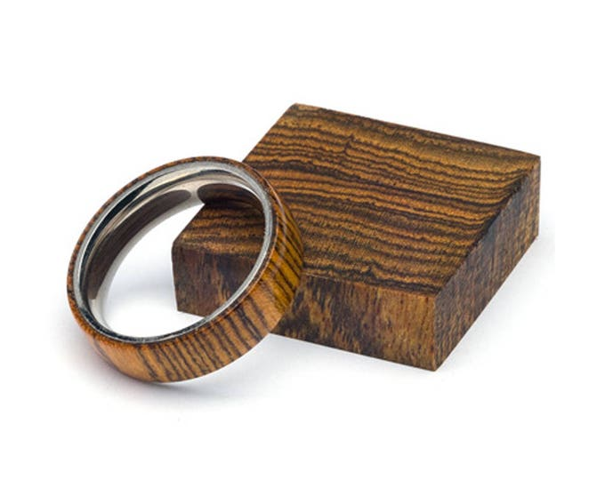 Exotic Bocote wood and Stainless Steel Core ring
