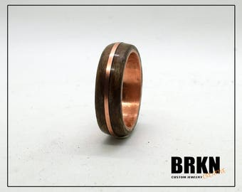 Walnut and Copper Core ring with Copper Inlay, Classic Wood Ring, Wood Ring for Men, Wood Ring for Women, Copper Ring, Wedding Band