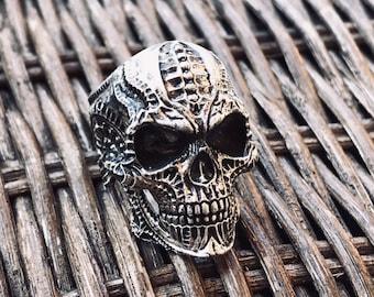 Large Biomechanic Skull Ring, Sterling Silver