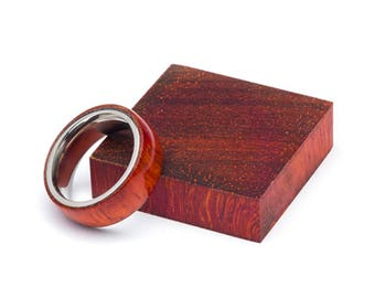 Padauk Wood and Stainless Steel Core ring, Classic Wood Ring, Wood Ring for Men, Wood Ring for Women, Wedding Band, Everyday Ring