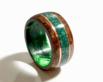 West African Etimoe wood with Crushed Malachite Stone, Copper banding, Green Epoxy Core Bentwood Ring,
