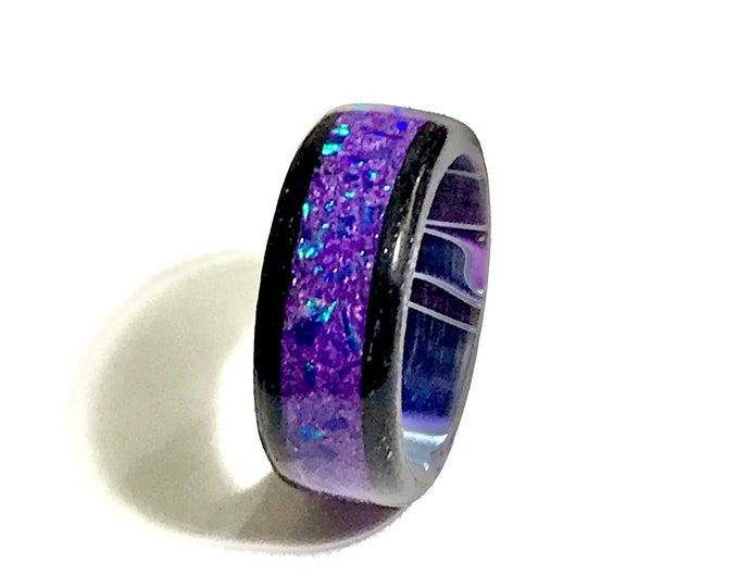 Blackened Maple Wood Ring, Lavender Crushed Opal Inlay