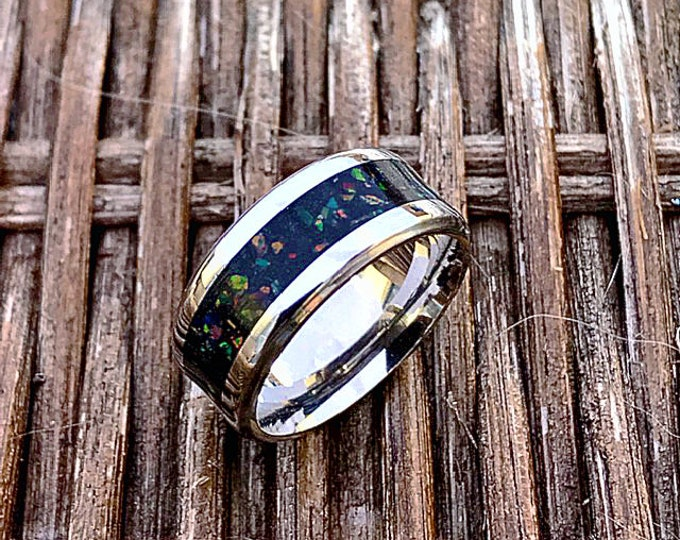 Titanium, Meteorite with Black Fire Opals Ring, Meteorite Wedding Band, Engagement Ring, Titanium Ring, Meteorite Ring, Woman's Ring