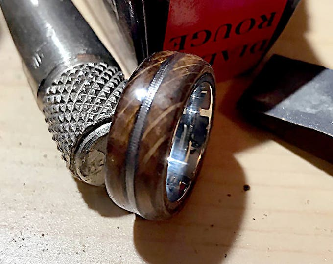 Jack Daniels Whiskey Barrel, Stainless Steel, Wood Ring, With Worn Guitar String Inlay, Men's ring, Women's Ring, Wedding Band, Wood Ring