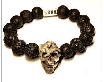 Skull and Snakes Sterling silver Bracelet & Lava Beads