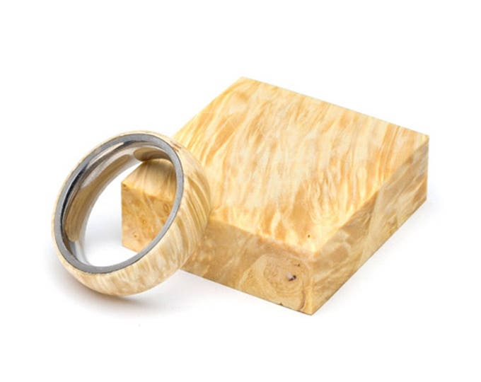 Box Elder Burl Wood Ring and Stainless Steel Core ring, Classic, Wood Ring for Men, Wood Ring for Women, Wedding Band, Everyday Ring