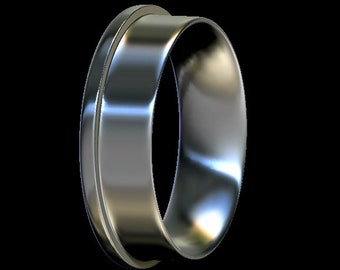 Edge Ring Core, Comfort Fit, Sterling Silver, For Ring Making