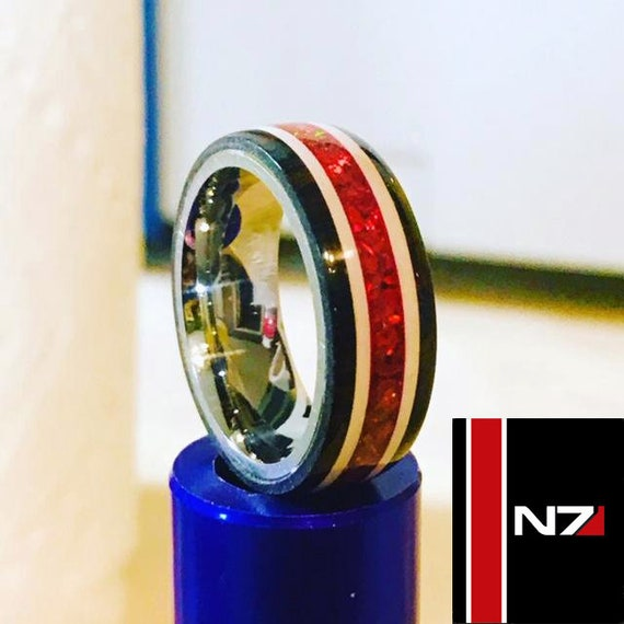 Gamer Epoxy Stripes Wedding Band Mens Ring Ruby Crushed Opals Mass Effect N7 Edition Inspired Ring Womens Ring Titanium Core