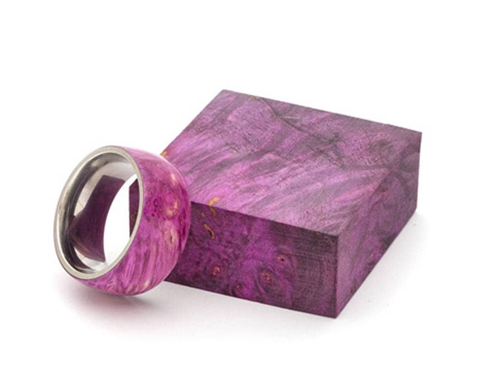 Purple Dyed Box Elder Burl Ring with Stainless Steel Core, Classic ...
