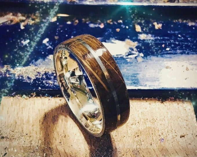 Jack Daniels Whiskey Barrel Charred Wood Ring, With Worn Guitar String Inlay