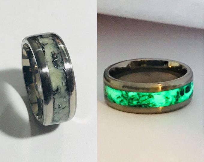 Meteorite Glow Ring, Meteorite Wedding Band, Men's Engagement Ring, Titanium, Meteorite Ring, Sterling Silver