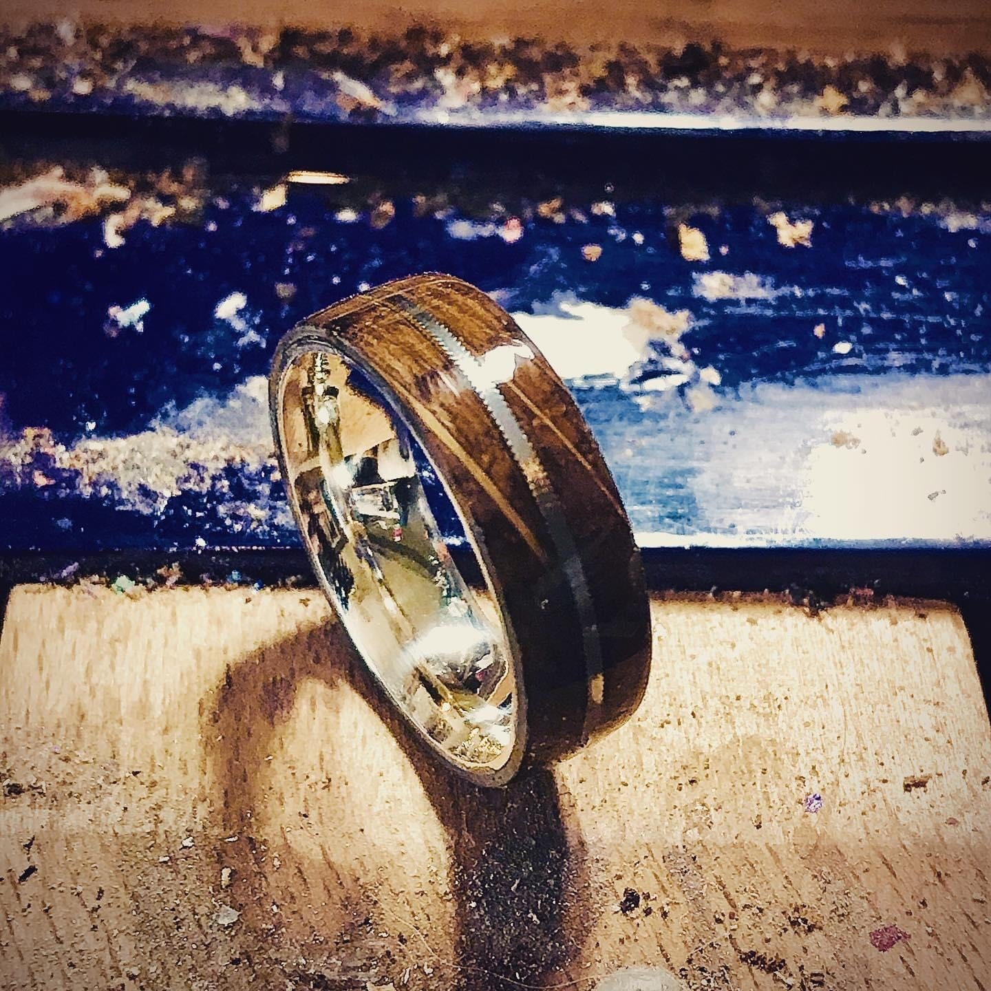Jack Daniels Whiskey Barrel Sterling Silver Titainum Wood Ring With Worn Guitar String Inlay