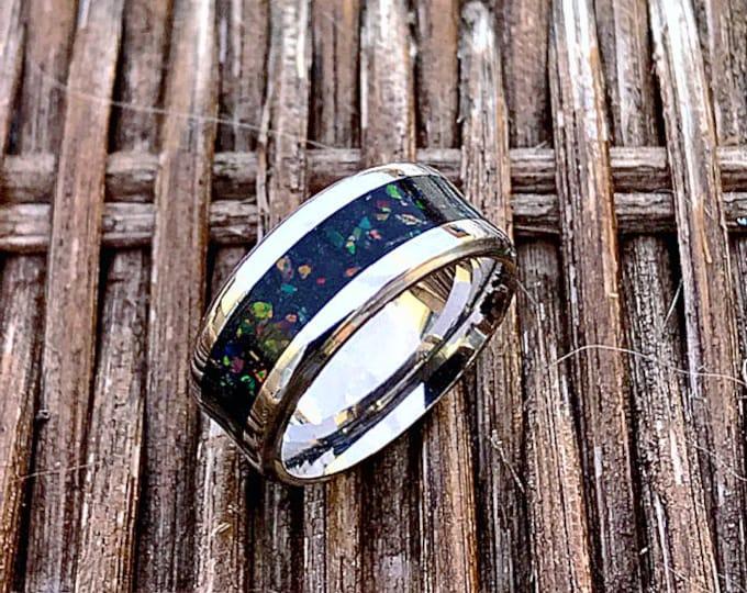 Titanium, Meteorite with Black Fire Opals Ring, Meteorite Wedding Band, Engagement Ring, Titanium Ring, Meteorite Ring, Woman's Ring