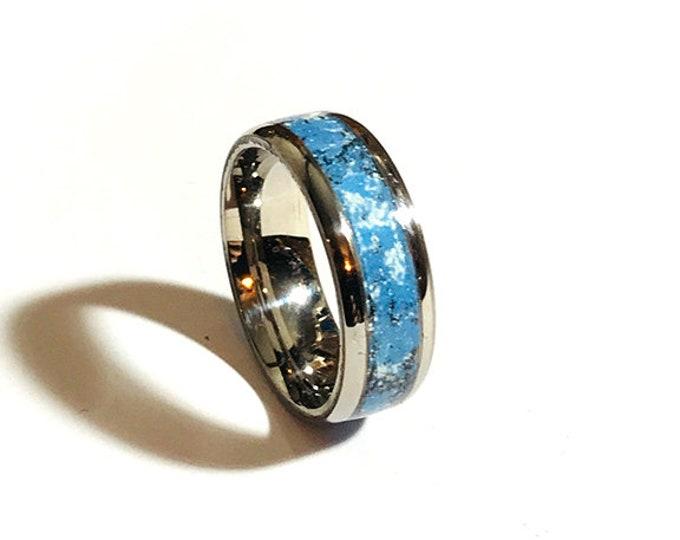 Meteorite Glow Ring - Blue Glow Ring - Engagement Ring - Blue Gray - Meteorite Ring - Meteorite Wedding Band - Titanium - Sterling Silver