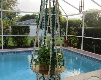 Macrame Hanging Table; Columns of Ivy