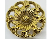 1.562 quot (1-9 16) Round Victorian Style Cast Brass Knob BOOKCASE Knob desk small cabinet drawer pull handle antique vintage old