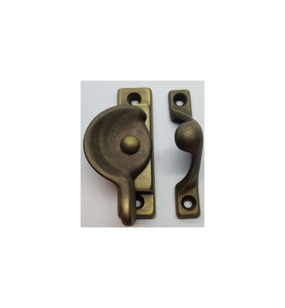 Decorative Solid Oil Rubbed Bronze Heavy Duty Spring Loaded Window Sash Lock Latch Square Cornered Catch century modern antique old vintage