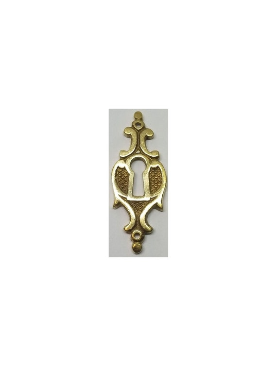 Small Cast Solid Brass Victorian Style Keyhole Cover Antique Desk Drawer Key Fancy Cabinet Old Vintage Rustic