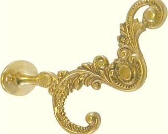 Cast Brass Victorian Style Front Mount Coat Hook antique vintage rustic fancy filigree