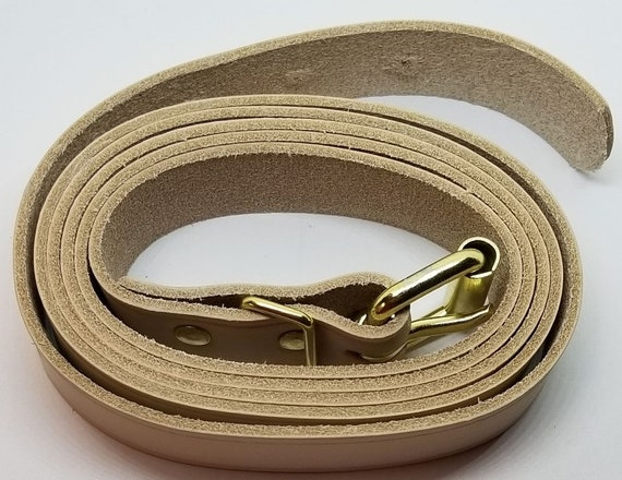 "5/' Natural Long Leather Trunk Buckle Strap chest steamer antique vintage 60/"""