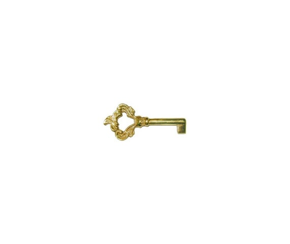 Small Cast Brass Key Polished Skeleton Antique retro desk cabinet hope chest box jewelry vintage tiny rustic