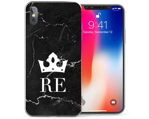 buy online 5ca1a 3449a Marble Effect Crown Patterned Case iPhone X Cases Custom Personalised Gift  Black Marble Crack Pattern Cover Silicone TPU Gel Covers
