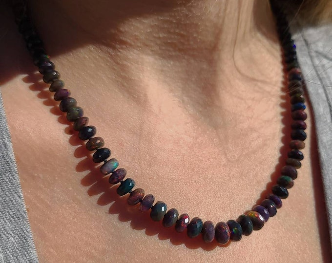 Black faceted Ethiopian Opal Candy Necklace