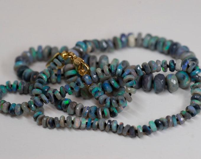 Australian Opal - Opal Candy Necklace - Lightning Ridge Black Crystal - OOAK - 18k Gold