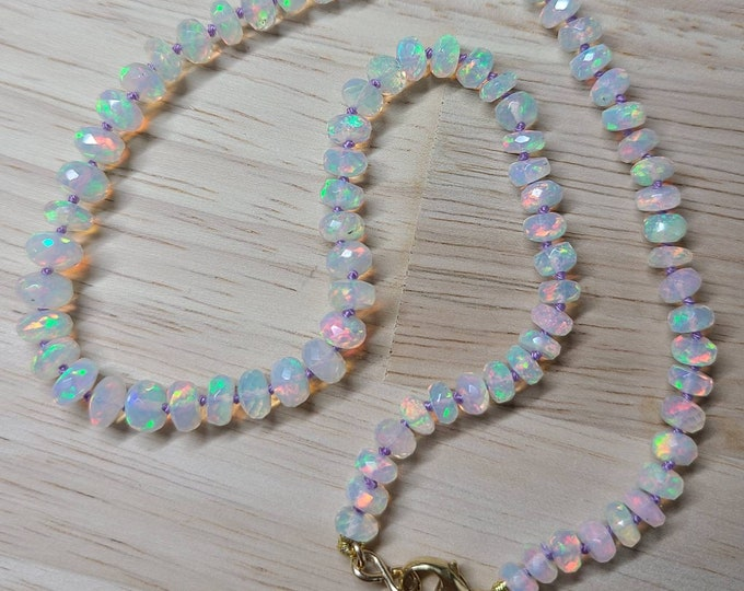 White Ethiopian Opal Hand knotted Candy Necklace