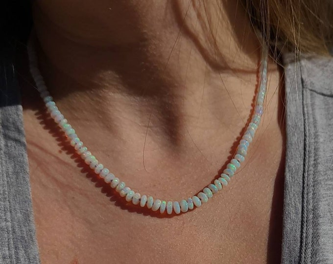 Australian Crystal Opal Hand Knotted Candy Necklace OOAK 18k Gold