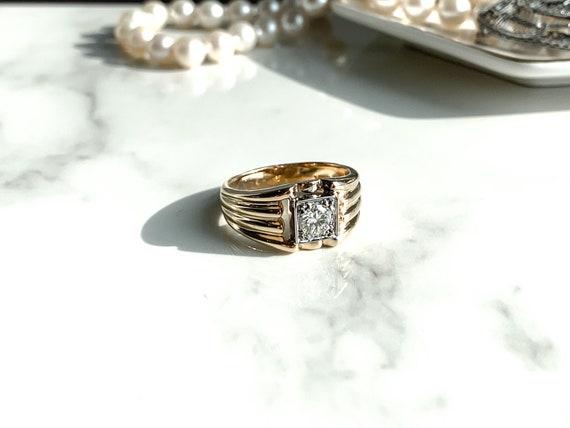 Mens Wedding Band * Vintage Diamond Ring * 14KT Ye