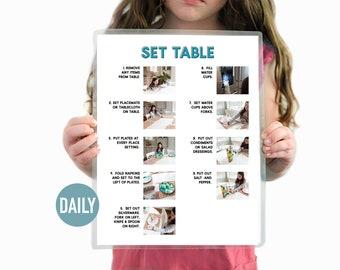 Set the Table Visual Aid Daily Chore Guide- Chore Chart
