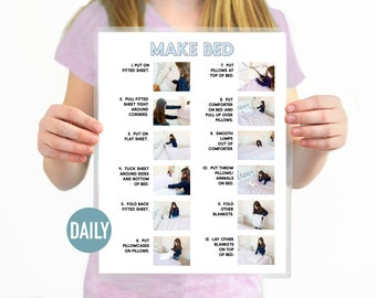 Make Bed Step by Step Daily Chore Guide- Chore Chart