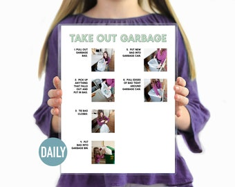 Take Out Garbage Daily Task Step by Step Chore Guide-Chore Chart