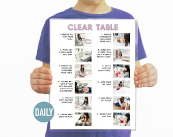 Clear the Table Visual Aid Step by Step Daily Chore Guide- Chore Chart