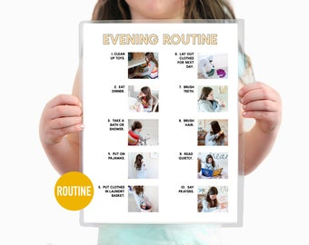 Evening Routine Daily Step by Step Visual Aid Chore Guide