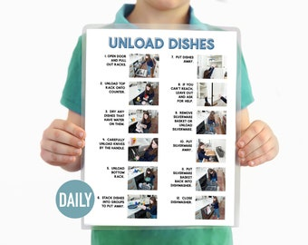 Unload the Dishwasher Visual Aid Step by Step Daily Chore Guide- Chore Chart