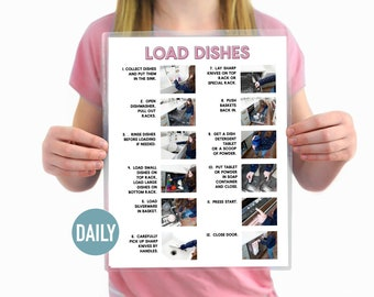 Load the Dishwasher Visual Aid Step by Step Daily Chore Guide- Chore Chart