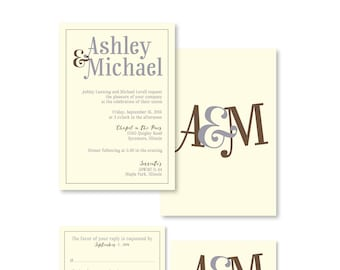 Wedding Ceremony and Reception Invitations and RSVP Cards