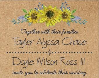 Kraft Sunflower Wedding Invitation and RSVP Postcard