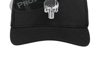 216b13cfda5ee Subdued Punisher Skull American Flag Thin Silver Line Flex Fit Baseball Hat  - Corrections Officer Guard Warden Police Law Prison