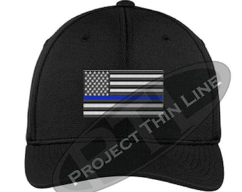 Embroidered Thin Blue Line Flag Flex Fit Hat - Police Officer and Law  Enforcement fac62fcc7203