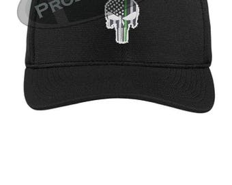e79042ad484d7 Subdued Punisher Skull American Flag Thin Green Line Flex Fit Trucker Hat -  Military Federal Agent Armed Forces army navy marines airforce