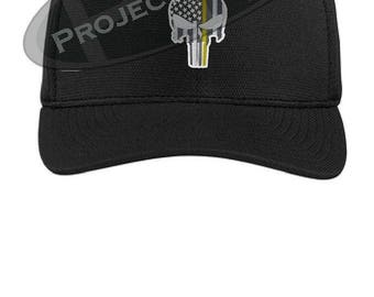Subdued Punisher Skull American Flag Thin Yellow Line Flex Fit Baseball Hat  - Security Officer Tow Truck Driver Law Police 11daef3a8087