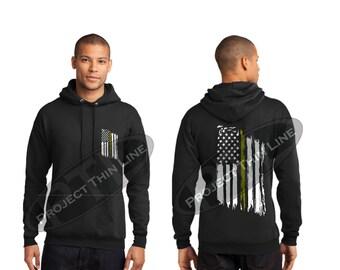 Tattered American Flag Thin Gold Line Hooded Sweatshirt - Dispatchers