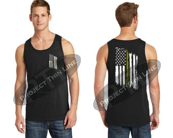 Tattered American Flag Thin Gold Line Tank Top - Dispatchers