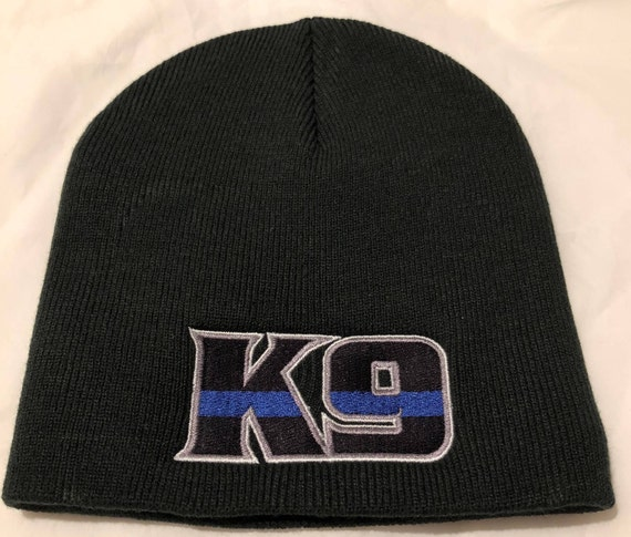 1ea57714f Thin BLUE Line FLAG K9 TEXT K-9 Police Law Enforcement American Flag Law  Skull Cap