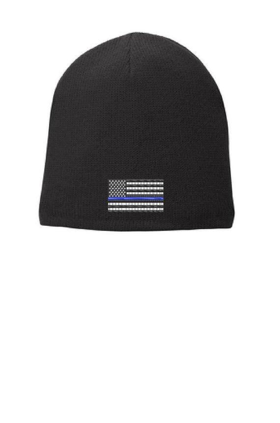 Black Thin Blue Line Flag Skull Cap FLEECE LINED BEANIE Law  b1ae5a70328f