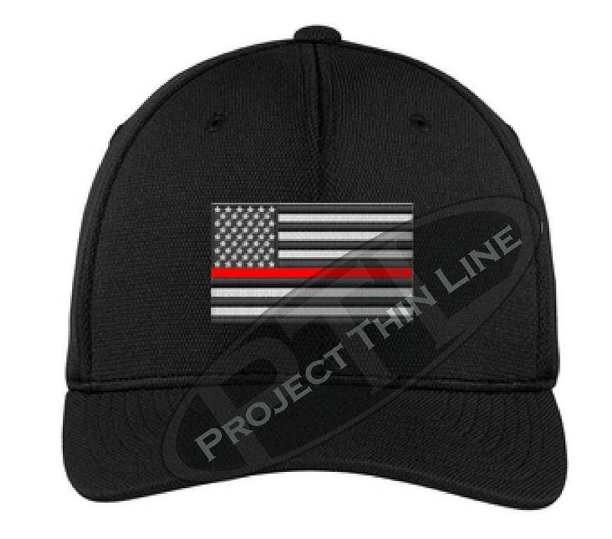 871c7f519b8 Embroidered Thin Red Line Flag Flex Fit Hat Firefighter IAFF